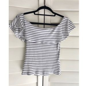 Navy blue and white off the shoulder shirt